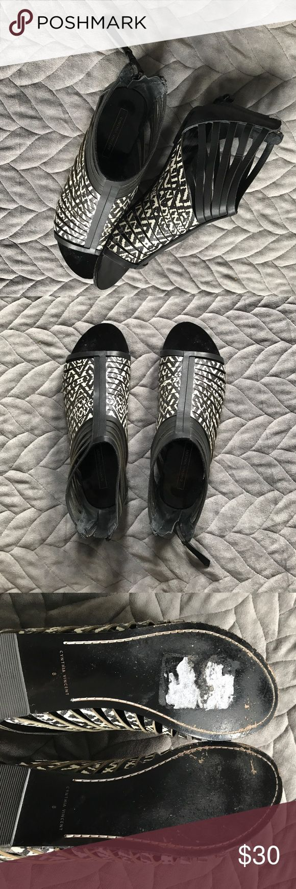 Cynthia Vincent black and white caged sandals Black and white caged sandal! Size 8. Great used condition. Only signs of wear on the bottom of the shoe. Make me an offer! Cynthia Vincent Shoes Sandals
