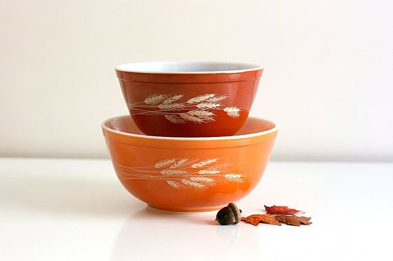 Vintage Autumn Harvest Wheat Pyrex Mixing Bowls by WiseApple, $28.00