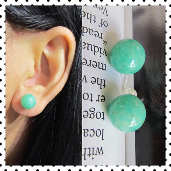 Rare Japanese Vintage Green Peking Glass Clip on earring, C34s, Non Pierced earring, Wedding Clip on earring, magnetic earring alternative