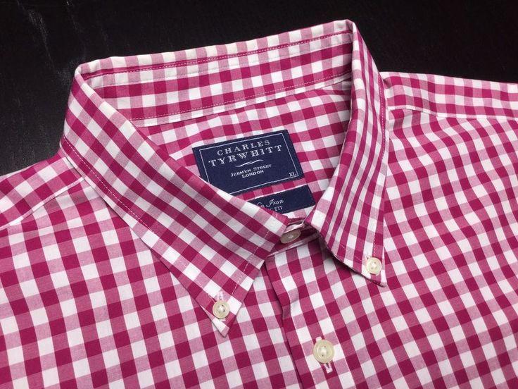 Charles tyrwhitt mens xl classic pink white gingham non for Mens dress shirts charles tyrwhitt