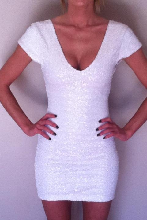It's sparkly like your theme and white for the wedding! Daaw Seduce In This Gorgeous White Sequin Dress $180