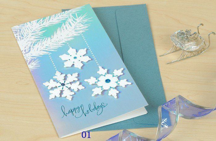New christmas cards greeting cards diy cards with envelope for Crafty christmas cards ideas