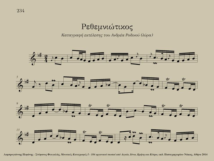 Rethemniotikos (Crete, Greece) - Andreas Rodinos (lyra) Excerpt from: Lamprogiannis Pefanis - Stefanos Fevgalas, Musical Transcriptions I - 184 instrumental tunes from the Aegean and Ionian Seas, Crete and Cyprus, ed. Papagrigoriou-Nakas, Athens 2014