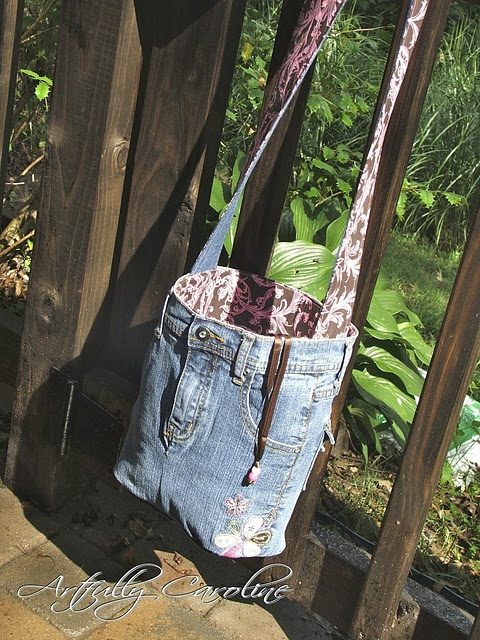 Repurposed jeans bucket bag