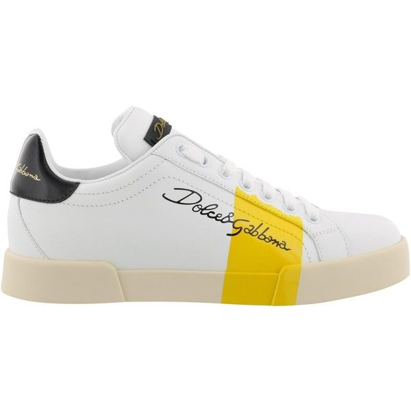Sneakers ($550) ❤ liked on Polyvore featuring shoes, sneakers, yellow, rubber sole shoes, logo shoes, striped shoes, stripe shoes and leather trainers