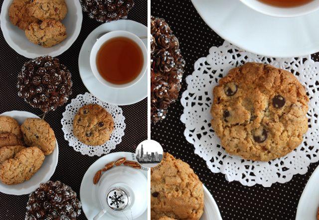 biscotti all'avena con noci pecan e gocce di cioccolato