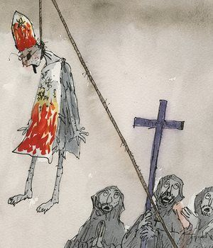 Candide, written by Voltaire, Quentin Blake illustrated edition published by The Folio Society 2011 Eternal optimist Dr Pangloss is hanged.
