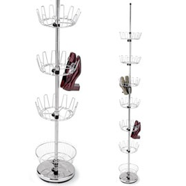 Floor-to-ceiling Shoe Tree Turn a corner into storage for 36 pairs!