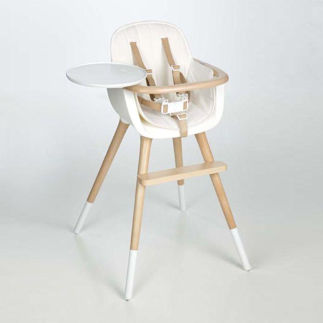 Chaise haute Ovo Micuna luxe avec harnais - chaise haute bebe design - Balouga
