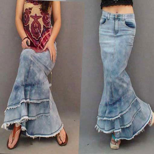 Envío gratis nueva moda largo Denim falda del vestido de bola para mujeres Patchwork Tassel Mermaid falda de talle alto