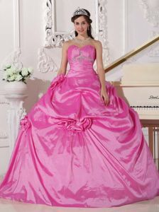 Plus Size Rose Pink Beaded Ruched Sweet 16 Dress with Flowers