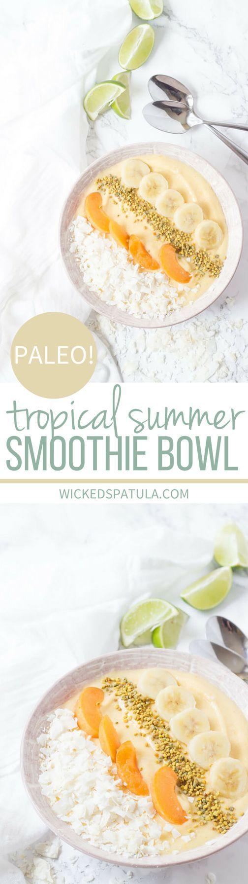 Paleo Tropical Summer Smoothie Bowl #paleo #grainfree #glutenfree