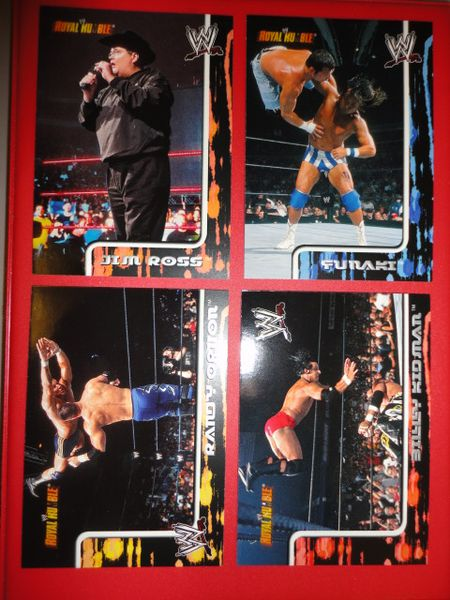 ** 4 OLD 2002 Fleer WWE/WWF Royal Rumble Wrestling Cards / Orton Kidman Funaki Ross **
