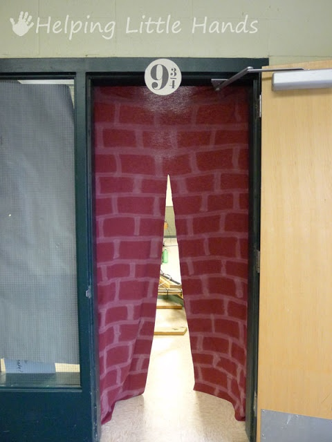 Harry Potter party ideas - platform 9 3/4. Love this idea then transform your room into hogwarts!