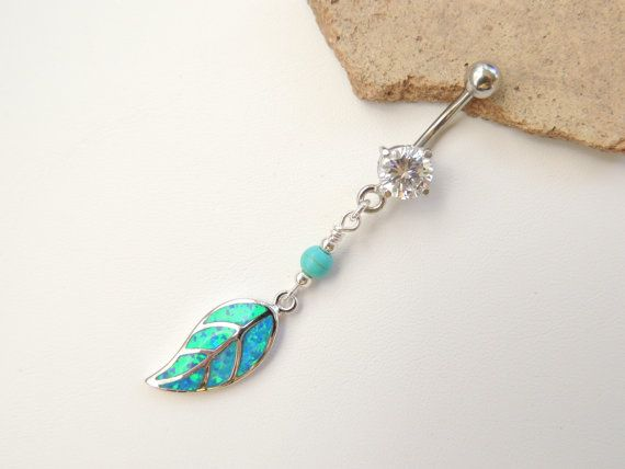 Opal Leaf and Turquoise Belly Button Ring by SeductiveBodyWorks