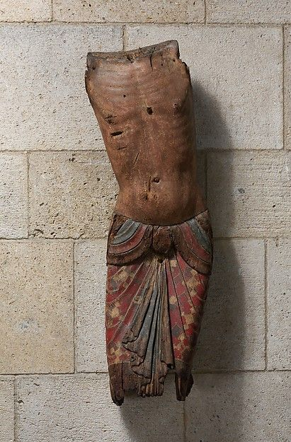 Torso of Christ from a Deposition  --  Late 12th Century  --  Auvergne, France  --  Poplar, gesso, paint & metal leaf  --  The Metropolitan Museum of Art