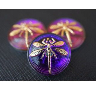 Cabochon  Purple-Orange with Gold Dragonfly
