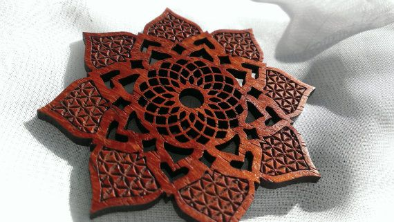 Lotus Pendant Laser cut wood Necklace by Shadowfoxdesign on Etsy, $20.00