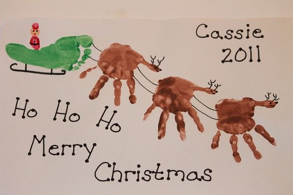Made from hand prints and foot print.  Santa is made from thumb prints. This so cute! Mike foot, Ava hands?