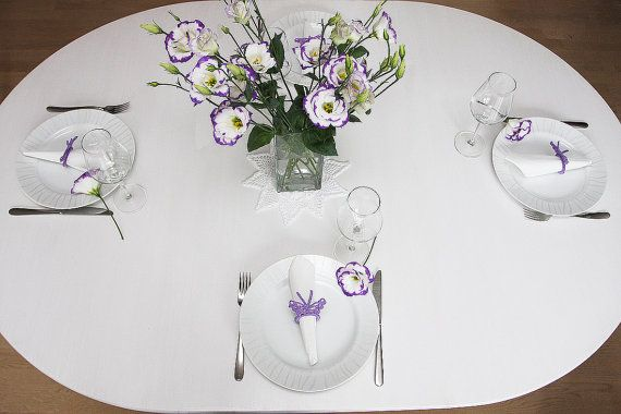 Uncinetto anelli uncinetto portatovaglioli Table Decor