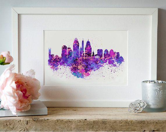 Cincinnati Skyline Watercolor painting City art by Artsyndrome
