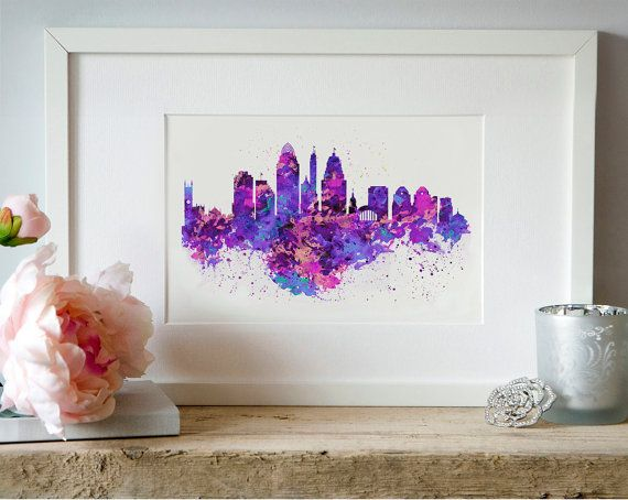 Cincinnati Skyline Watercolor painting City art by Artsyndrome
