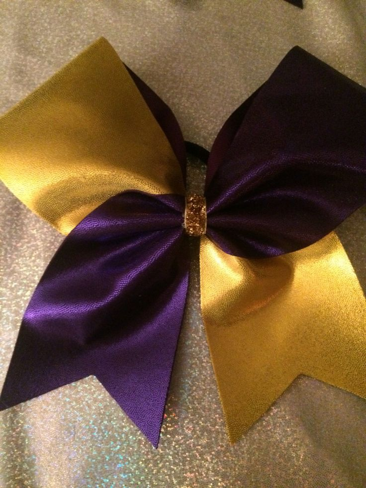 Purple and Yellow Gold Mystic ~ Tick Tock Cheer Bow * You Pick Colors by TheCheerBowBabe on Etsy