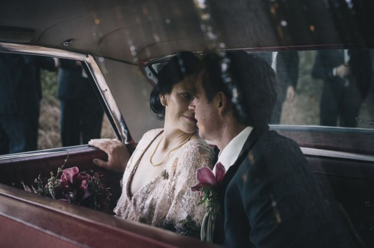 Bride and groom in vintage car  - taken by Anthea and Lyndon Photography and Video