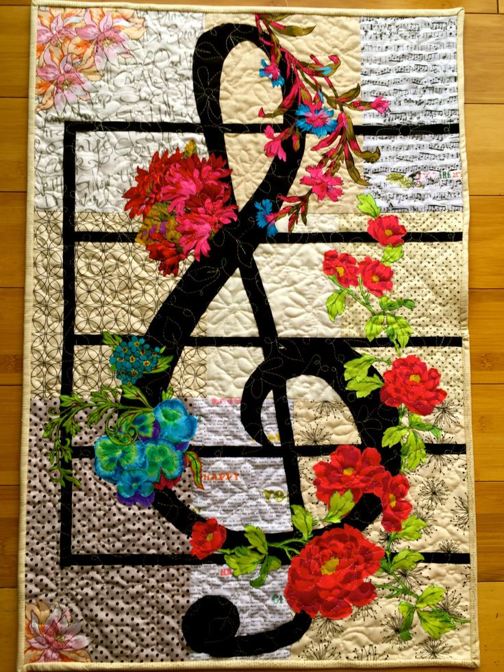 Treble Clef quilted fabric collage by TallPoppyStudios on Etsy