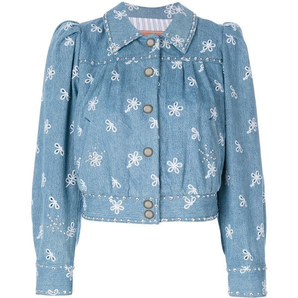 Marc Jacobs denim jacket featuring polyvore, women's fashion, clothing, outerwear, jackets, blue, marc jacobs jacket, 3/4 sleeve denim jacket, blue jean jacket, marc jacobs and cropped jacket