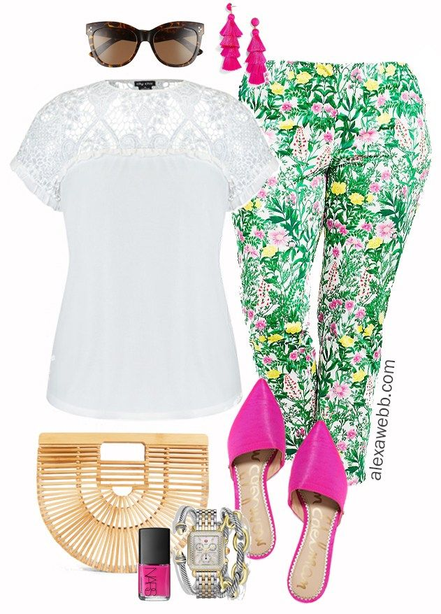 eacf657f8fa Plus Size Floral Pants Outfit - Plus Size Spring Outfit Idea - Plus Size  Fashion for Women - alexawebb.com  alexawebb