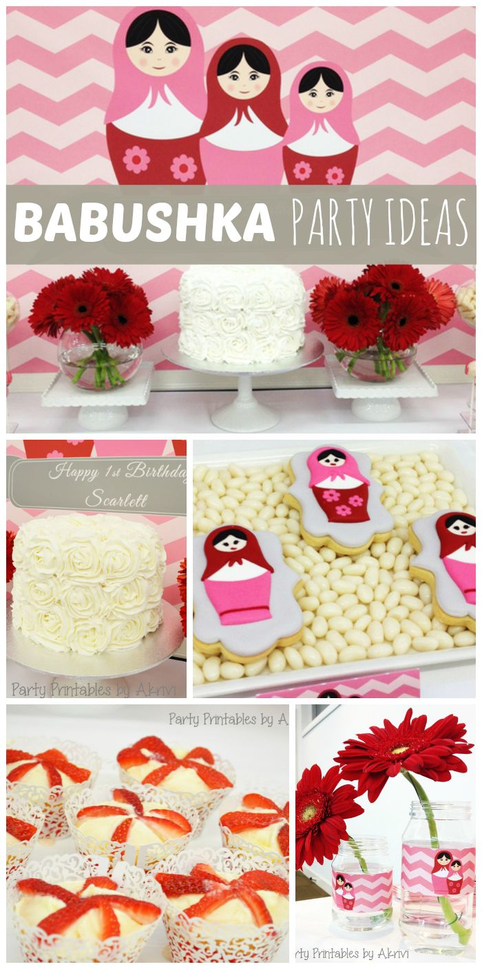 How fun is this pink and red Babushka girl birthday party!  See more party ideas at CatchMyParty.com!