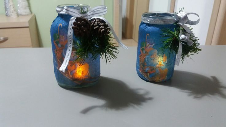Diy Recycle old jar. Decoupace with xmas napkins.