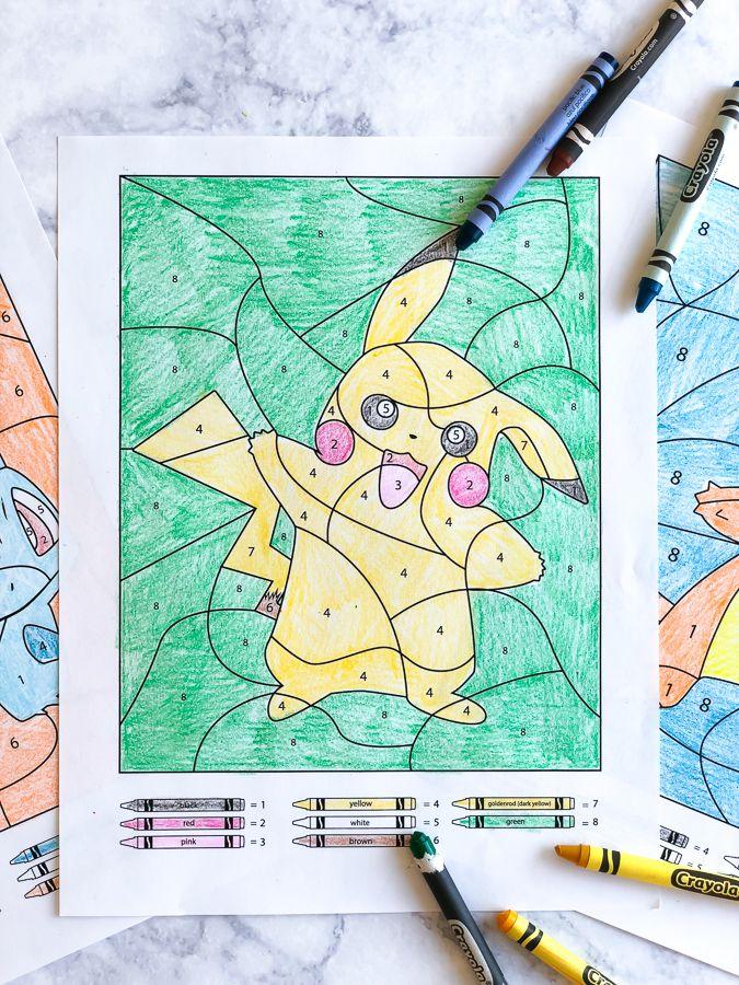 3 Free Pokemon Color By Number Printable Worksheets Kindergarten Craft Activities Printable Numbers Kindergarten Crafts