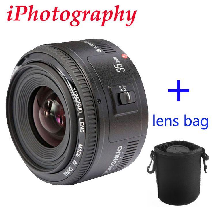 Yongnuo 35mm lensa yn35mm f2 lensa wide-angle besar aperture tetap auto focus lens untuk canon ef mount kamera eos dapat memilih tas