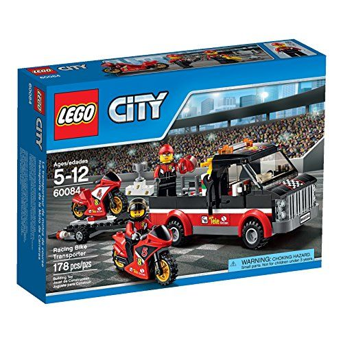 The LEGO City motorbike race team is heading to the stadium for the final race of the motorbike championships! Join the ace riders aboard the awesome Racing Bike Transporter together with their high-s...