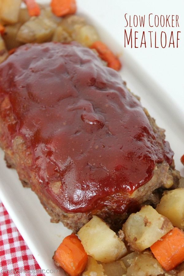 Slow Cooker Meatloaf Recipe with Potatoes and Carrots too! This crock-pot recipe turned out GREAT! Everyone came back for seconds