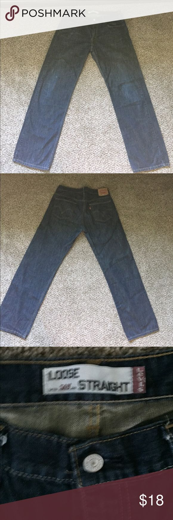 Levi's 569 Loose Straight Jeans Great condition, dark blue Levi's. Only wore a handful of times. Small spots on one leg which you can see in the picture, they aren't very noticeable when they are on. Size 34/34 Levi's Jeans Straight