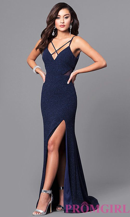 Image of glitter navy blue long prom dress with open back. Style: DMO-J315706 Front Image