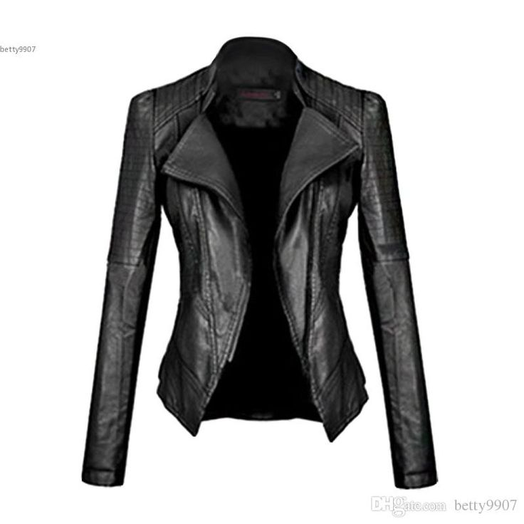2017 Women Fashion Long Sleeve Slim Fitted Zip Up Faux Leather Biker Jacket Black Color For Spring Autumn Jacket Online Bomber Leather Jacket From Betty9907, $32.17| Dhgate.Com