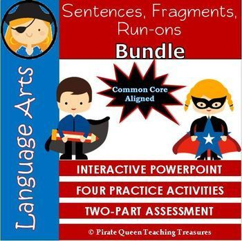 This three part product is designed to teach students how to recognize and write complete sentences and how to identify and correct fragments and run-ons. The PowerPoint defines what a sentence is and explains its parts, subjects and predicates. Interactive slides require students to identify subjects and predicates in a variety of sentences.