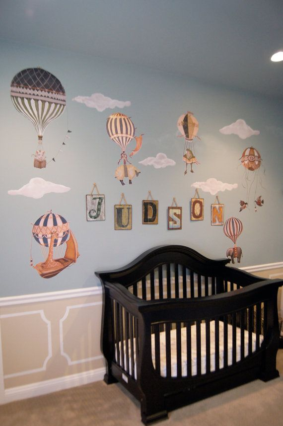 Wallpaper Baby Girl And Boy Ex Large Birds Vintage Hot Air Balloon Animal Nursery