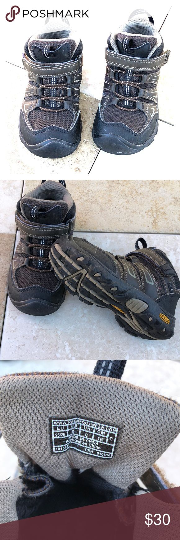 Toddler/little boy Keen hiking boots Great hiking boots if you like to take your kids hiking. Also great for in between seasons to keep your little ones feet dry. Keen Shoes Boots