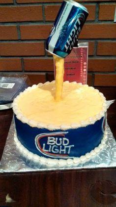 Bud Light Beer Birthday Cake cakepins.com
