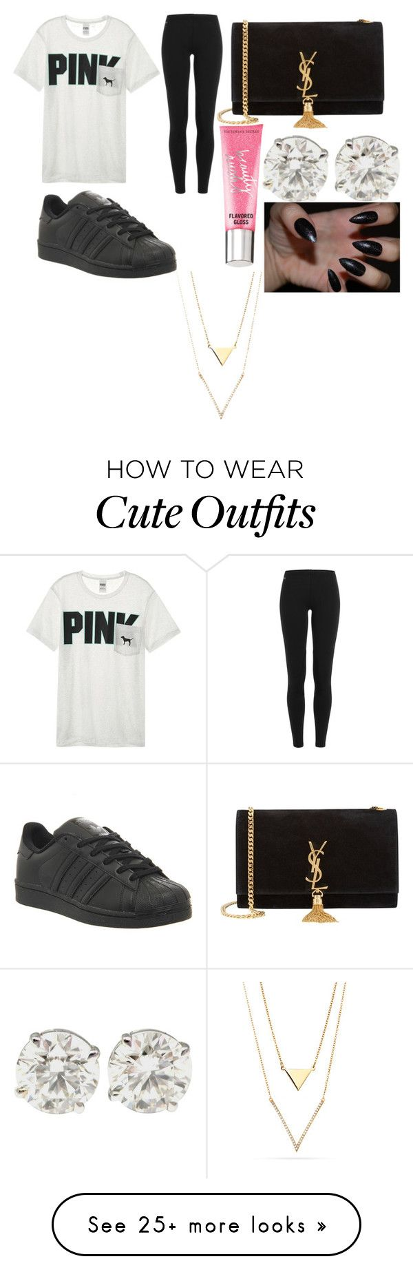 """back to school outfit"" by dakitasharp on Polyvore featuring Victoria's Secret, Polo Ralph Lauren, Yves Saint Laurent, adidas and Beauty Rush"