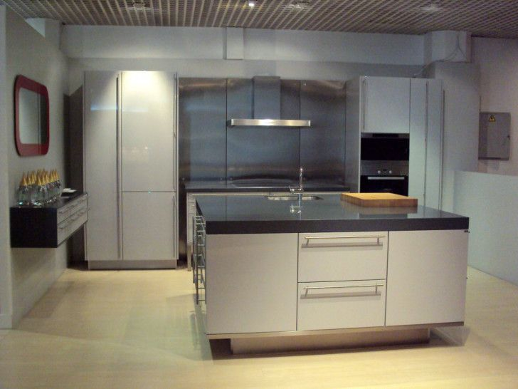 Popular Grey Kitchen to Maximize Your Work in Preparing Delicious Meals: Engaging Looking Grey Kitchen Cabinets Ideas In Majorca And Kitchen Island With Black Marble Countertop Also Reccessed Light And Cooker Hood ~ enokae.com Kitchen Inspiration