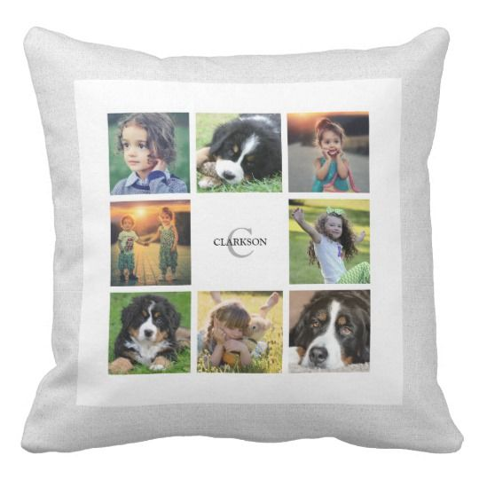 Modern white faux burlap, family photo collage pillow. You can easily add your own photos, name and monogram/