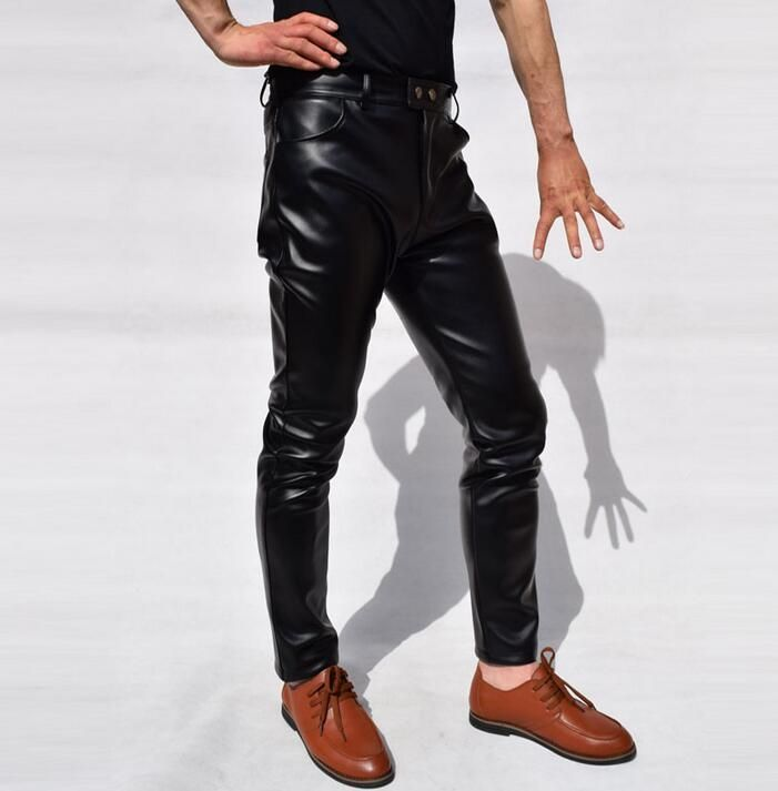 Spring and autumn mens leather pants casual slim wind teenage male straight high waist motorcycle leather trousers mens fashion