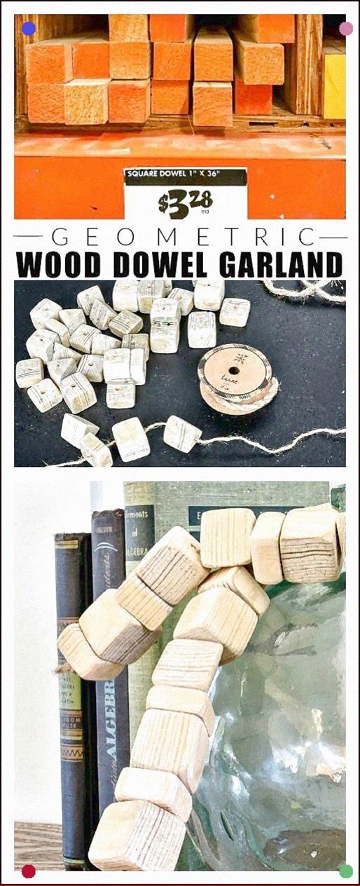 An Easy Tutorial For Creating A Modern Geometric Wood Bead Garland Using Inexpensive Square Dowels. #Budgetdecor #Diy #Diycrafts #Budgetdecorating #Garlands #Woodgarland #Knockoffs #Knockoff #Woodcrafts
