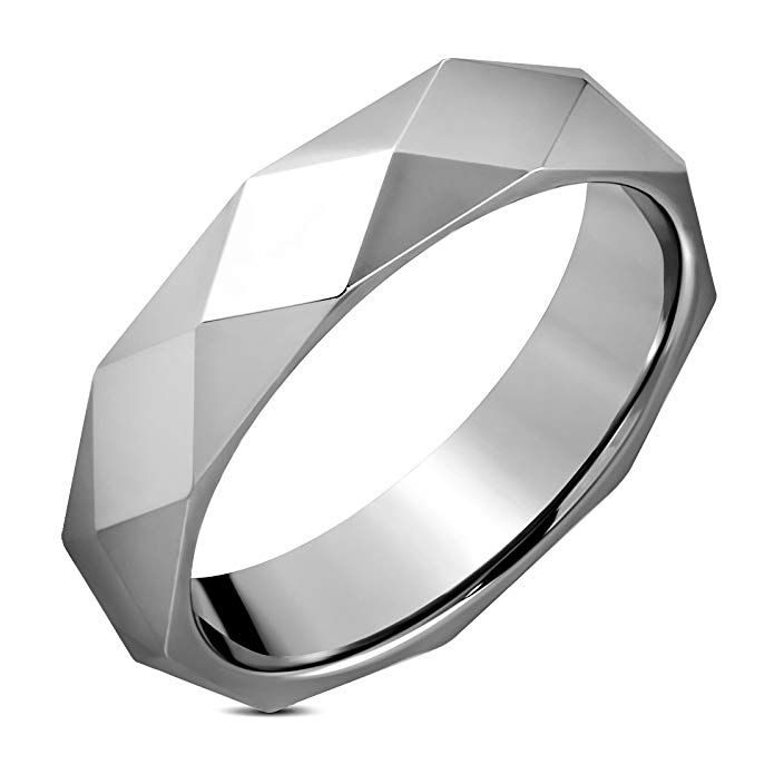 Tungsten Carbide Faceted Dome Pyramid Comfort Fit Half-Round Band Ring